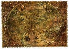 Mappa del pirata delle terre di fantasia con i draghi e le sirene illustrazione di stock