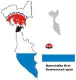 Mappa del profilo del krai di Kamchatka con la bandiera Immagine Stock Libera da Diritti