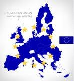 Mappa del profilo dell'Unione Europea con la bandiera di UE Fotografie Stock Libere da Diritti