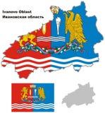 Mappa del profilo di Ivanovo Oblast con la bandiera Fotografia Stock