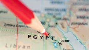 Mappa del punto caldo dell'Egitto Immagini Stock