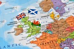 Mappa del Regno Unito, bandiere dell'Inghilterra, Scozia, Galles, concetto del brexit Fotografia Stock Libera da Diritti