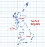 Mappa del Regno Unito BRITANNICO disegnato con la penna blu Fotografia Stock Libera da Diritti