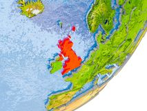 Mappa del Regno Unito su terra Immagini Stock