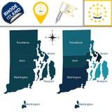 Mappa del Rhode Island con le regioni Immagine Stock Libera da Diritti