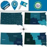 Mappa del Sud Dakota con le regioni Fotografie Stock