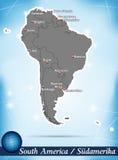 Mappa del Sudamerica Fotografia Stock Libera da Diritti