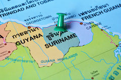 Mappa del Surinam Fotografie Stock