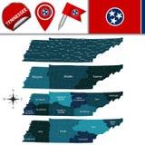Mappa del Tennessee con le regioni Fotografia Stock Libera da Diritti