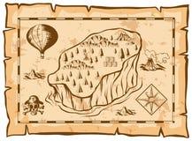 Mappa del tesoro con l'isola ed il pallone Fotografie Stock Libere da Diritti
