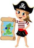 Mappa del tesoro di rappresentazione della ragazza del pirata Fotografia Stock