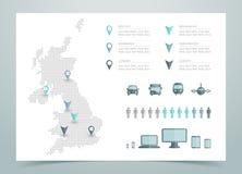 Mappa del vettore punteggiato il Regno Unito Fotografie Stock Libere da Diritti