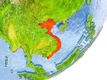 Mappa del Vietnam su terra Immagine Stock