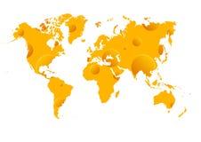 Mappa del wold del formaggio Fotografie Stock
