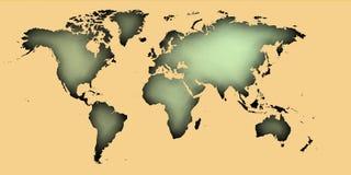 mappa del worrld 3d sopra i cerchi concentrici royalty illustrazione gratis