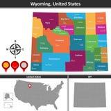 Mappa del Wyoming, Stati Uniti illustrazione vettoriale