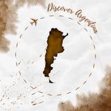 Mappa dell'acquerello dell'Argentina nei colori di seppia Fotografia Stock