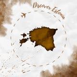 Mappa dell'acquerello dell'Estonia nei colori di seppia Immagine Stock Libera da Diritti