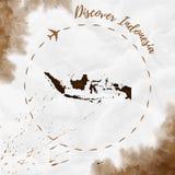 Mappa dell'acquerello dell'Indonesia nei colori di seppia Immagine Stock