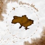 Mappa dell'acquerello dell'Ucraina nei colori di seppia Immagini Stock Libere da Diritti
