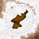 Mappa dell'acquerello della Corea del Nord nei colori di seppia Fotografia Stock