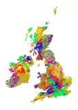Mappa dell'acquerello della Gran Bretagna Fotografia Stock Libera da Diritti