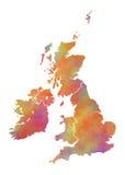 Mappa dell'acquerello della Gran Bretagna Fotografie Stock