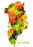 Mappa dell'acquerello della Groenlandia immagini stock libere da diritti