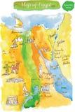 Mappa dell'acquerello delle attrazioni Egitto Illustrazione di Stock