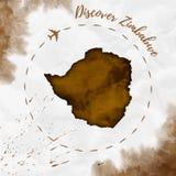 Mappa dell'acquerello dello Zimbabwe nei colori di seppia Fotografia Stock Libera da Diritti