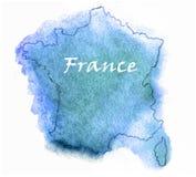 Mappa dell'acquerello di vettore della Francia Immagine Stock Libera da Diritti