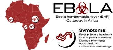 Mappa dell'Africa con il testo di ebola ed il simbolo di rischio biologico Fotografie Stock Libere da Diritti