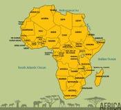 Mappa dell'Africa con tutti i paesi Fotografie Stock Libere da Diritti