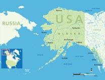 Mappa dell'Alaska Immagini Stock