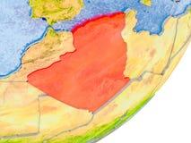 Mappa dell'Algeria su terra Fotografie Stock