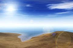 Mappa dell'ambiente, mappa di alta risoluzione di HDRI Panorama rotondo, panorama sferico, oasi equidistante nel deserto Fotografia Stock Libera da Diritti