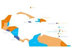 Mappa dell'America Centrale e dei Caraibi Mappa schematica di vettore di Simlified nelle combinazioni colori quattro royalty illustrazione gratis