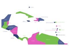 Mappa dell'America Centrale e dei Caraibi Mappa schematica di vettore di Simlified nelle combinazioni colori quattro illustrazione di stock