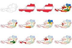 Mappa dell'amministrazione dell'Austria Fotografie Stock Libere da Diritti