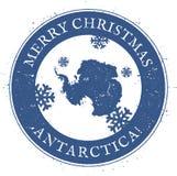 Mappa dell'Antartide Buon Natale d'annata illustrazione vettoriale