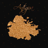 Mappa dell'Antigua riempita di scintillio dorato Fotografie Stock