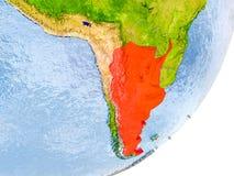 Mappa dell'Argentina su terra Fotografia Stock
