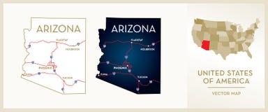 Mappa dell'Arizona Fotografia Stock Libera da Diritti