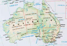 Mappa dell'Australia Immagini Stock