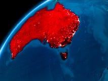 Mappa dell'Australia alla notte Fotografie Stock Libere da Diritti