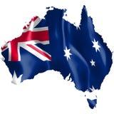 Mappa dell'Australia con la bandiera d'ondeggiamento immagine stock