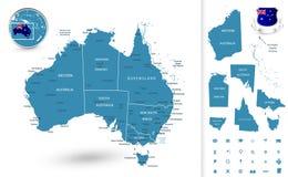 Mappa dell'Australia con le regioni Fotografia Stock