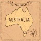 Mappa dell'Australia di vecchio stile royalty illustrazione gratis