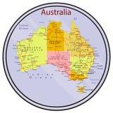 Mappa dell'Australia sulla moneta Fotografia Stock Libera da Diritti