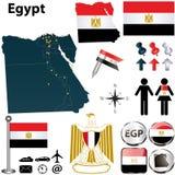Mappa dell'Egitto Fotografia Stock Libera da Diritti